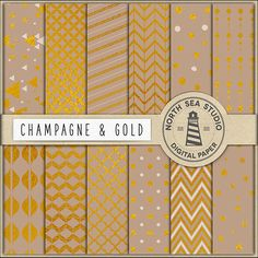 BUY5FOR8 Champagne And Gold Digital Paper Gold by NorthSeaStudio