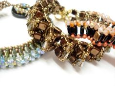 tile beads bracelets     SWAROVSKI ELEMENTS and Czech glass beads
