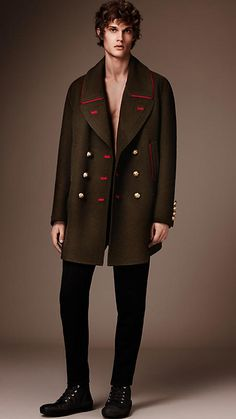 Dark military green Cashmere Wool Military Pea Coat - Image 1