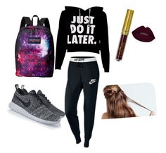 """Lazy day outfit for school & beauty"" by sammysweetheart13 on Polyvore featuring NIKE and JanSport"