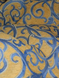 Blue and Yellow Upholstery Weight Fabric by HistoryHouseAntiques