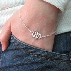 Sterling Silver Monogram Bracelet - Monogram Jewelry - Bling Boutique with his last initial? Monogram Bracelet, Monogram Jewelry, Personalized Jewelry, Monogram Initials, Jewelry Box, Jewelry Accessories, Custom Jewelry, Gold Jewellery, Bijou Box