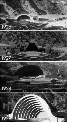 (1926-1929) Within a short period of 4 years, the Hollywood Bowl shell would go through a series of design modifications all with the intent of improving the acoustics. The 1929 shell stood until 2003.