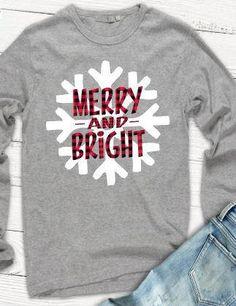7aa35a666 Merry and Bright Tshirt, Christmas Tshirt, Buffalo Plaid Tshirt, Snowflake  Tshirt, Plus Size Holiday Tshirt, Snowflake Shirt