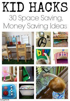 KID HACKS - List of 30 Space Saving, Money Saving Life Hack Ideas for Kids Play on Lalymom.com