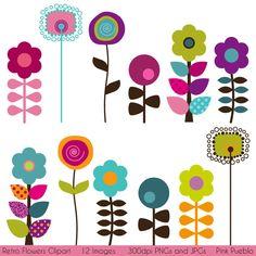 Retro Flowers Clipart Clip Art, Mod Vintage Flowers Clipart Clip Art - Commercial and Personal Use. $6.00, via Etsy.