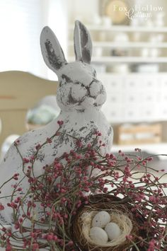 Concrete Bunny Rabbit with Wreath & Nest | Spring Home Tour at foxhollowcottage.com