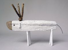 White Wooden Deer by CocoetPompon on Etsy, $63.00