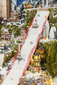 Christmas Village Ski Slope Mountain for Lemax, Dept Dickens, North Pole, Snow Village Department 56 Christmas Village, Christmas Tree Village, Halloween Village, Christmas Town, Christmas Villages, Noel Christmas, Miniature Christmas, Christmas Lights, Lemax Village