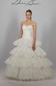 Dennis Basso - Sweetheart Ball Gown in Lace i would like this even more if the ruffles were closer together and came out at the natural waist