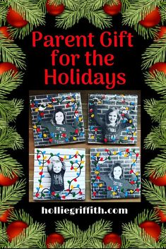 """""""Flashback to my FAVORITE parent gifts ever.... These were super cute and SO EASY! I only needed the 20 cent tiles from Lowe's, a black and white picture, and a tube of Mod Podge.  #HollieGriffithTeaching #ClassroomIdeas #KidActivities"""