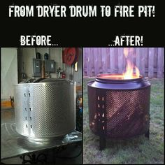 How to turn a salvaged washer or dryer drum into a functional and unique backyard firepit for less than $35!