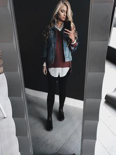 JessaKae, style, fashion, layering, clothing layering, ootd, sweater, denim jacket, women's fashion