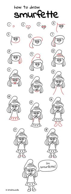 How to draw Smurfette. Easy drawing, step by step, perfect for kids! Let's draw kids. http://letsdrawkids.com/