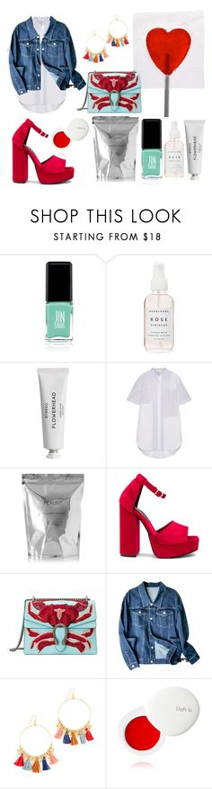 """""""Denim Jacket"""" by ivana-andrejic ❤ liked on Polyvore featuring Jin Soon, Herbivore, Byredo, 3.1 Phillip Lim, Cleanse by Lauren Napier, Jeffrey Campbell, Gucci, Chan Luu and lilah b."""