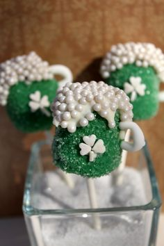 St. Patrick's Day Beer Mug Cake Pops by Alexandria Cake Pop Compnay