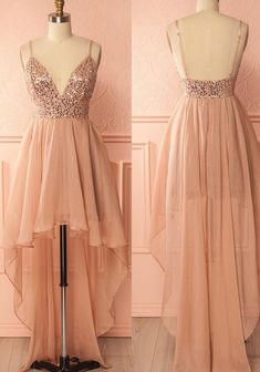 Cheap A-line/Princess Prom Homecoming Dresses Short Pink Dresses With Backless Sequin High-Low Enticing Prom Dresses