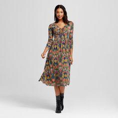 Women's Floral Midi Dress Olive - Xhilaration™ (Juniors') : Target