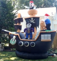halloween inflatable skeletons on pirate ship yard decoration air blown - Halloween Inflatable Yard Decorations