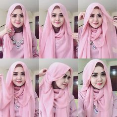 Beautiful Pink Pin Back Hijab Tutorial - Hijab Fashion Inspiration Beautiful Pin Back hijab style for everyday use, you can wear this for school, work or even special Tutorial Hijab Pesta, Simple Hijab Tutorial, Hijab Style Tutorial, Mode Turban, Turban Hijab, Hijab Dress, How To Wear Hijab, Stylish Hijab, Muslim Women Fashion