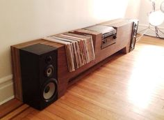 The Folded Record Bureau: Turntable, Record Shelf, & Magazine Shelf In One | Apartment Therapy