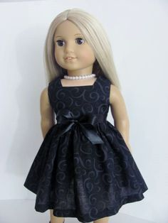 Little Black Doll Dress and Sash for the American Girl Doll
