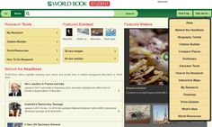 Wold Book student page with sub navigation World Book Online, Books Online, Stem Courses, 5th Class, Student, College Students