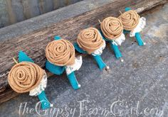 turquoise and brown Boutonnieres | Custom order for Denise Burlap and Lace Rose by GypsyFarmGirl