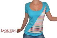 T-Shirts uni Rundhals - Shirt türkis Baumwolle gestreift Jersey - ein Designerstück von JAQUEEN-handmade-streetwear-berlin bei DaWanda