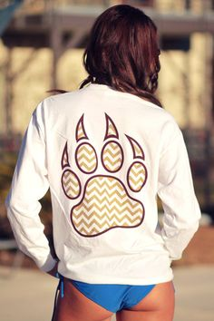 Bobcat Claw Chevron Maroon and Gold Long Sleeve - White