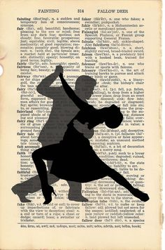 Dictionary Art Print  Dancing Silhouettes  Set of 4 by PagesOfAges, $14.00