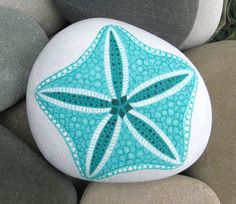 Hand Painted Cape Cod Beach Stone/Starfish/Unique Paperweight/Coastal Home Decor/Decorative/Seashell