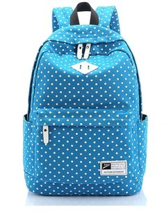 """Canvas Backpack Travel School Shoulder Bag Dot Printing Teenage Girl's Bags for 14""""-15"""" Laptop PC A4 Magazine iPad 3/4/Air (Green): Amazon.co.uk: Luggage"""