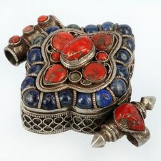 Nepal | Silver Gau prayer box with Coral and Lapis Lazuli | ca. Old trade coral, 200 years or more old but the Lapis is new.