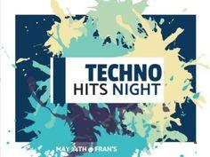 Blue green splash paint techno night music 'techno hits night' colourful template