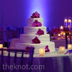 Real Weddings - A Bright Outdoor Wedding in Miami Beach, FL - Purple Orchid Cake