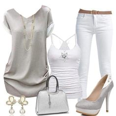 White grey summer outfit