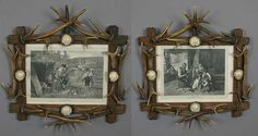 pair of nice antler picture frames