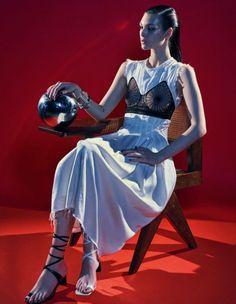 Vittoria Ceretti models Celine dress with bralette