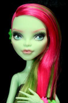 Monster High Repaint Custom Doll Repainted OOAK Faceup Venus I Am Beautiful Green Gift Collector Art Doll