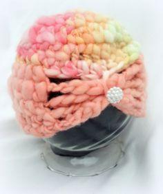 Crochet baby newborn handspun merino wool hat  by FreshOffTheeHook, $25.00