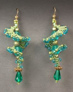 """~~""""Galaxy"""" earrings in greens and blues by Joan Babcock~~"""