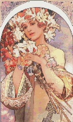 Cross Stitch Patterns - Art Nouveau - Mucha Art Nouveau Lady With Lilies Cross Stitch Pattern Chart