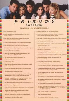 Show everyone the Things You Learned from binge-watching the classic TV show Friends with this great poster of quotes! Fully licensed - 2014. Ships fast. 24x36