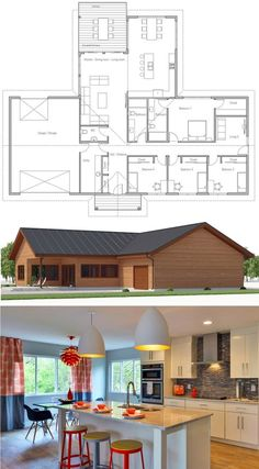 Trendy House Design Ideas New Homes Floor Plans House Plans One Story, Country House Plans, Dream House Plans, Modern House Plans, Modern House Design, House Floor Plans, Home Building Design, Home Design Plans, Building A House