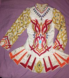 Cute White Gavin Doherty Irish Dance Dress Solo Costume For Sale