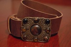 Brass Leather Belt  Belt Buckle Leaves Stone  by CUERO925LEATHER, €25.00