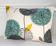 decorative pillow cover  teal grey mustard, dandelion sofa cushion cover lumbar 12 x 18 inch. £15.90, via Etsy.