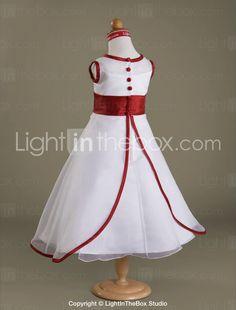 A-line Scoop Floor-length Shantung Organza Flower Girl Dress - AU$ 68.19