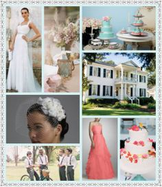 Southern Vintage Wedding - Colors: Tiffany Blue and Coral Pink